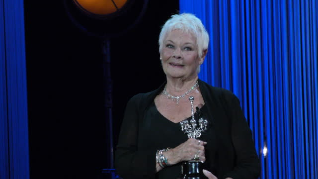 actress judi dench receives the donostia award during the 66th san sebastian international film festival at the kursaal palace on september 25, 2018... - ジュディ・デンチ点の映像素材/bロール