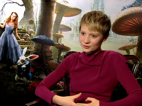 Actress Mia Wasikowska who plays Alice on working with Tim Burton on how similar their ideas were at the Alice In Wonderland Interviews at London...