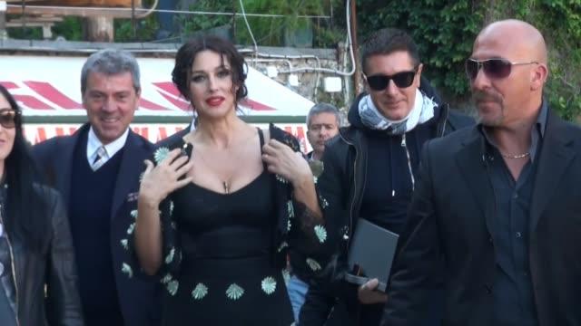 Actress Monica Belluci and model Bianca Balti film a TV commercial for fashion designers Dolce Gabbana in Portofino Italy