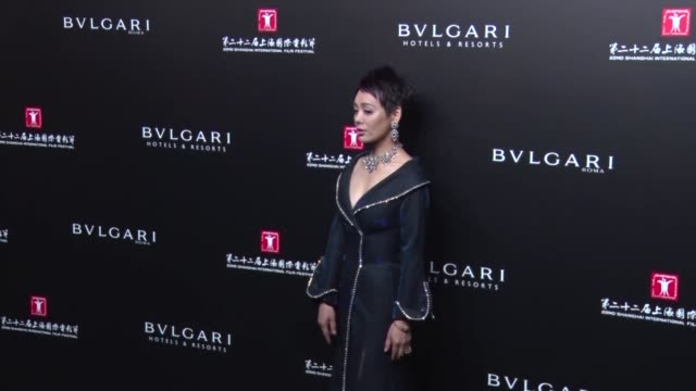 vídeos de stock e filmes b-roll de actress ning jing attends banquet of 'the greatest minds presented by bulgari' during the 22nd shanghai international film festival on june 18, 2019... - vestido preto