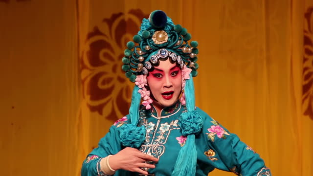cu actress performing beijing opera in traditional theatre audio / xi'an, shaanxi, china - performing arts event stock videos & royalty-free footage