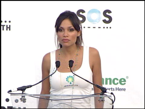 actress rosario dawson at the live earth new york press room at giants stadium in east rutherford new jersey on july 7 2007 - rosario dawson stock videos and b-roll footage