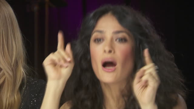 actress salma hayek talks about getting people involved in women's rights while backstage at the chime for change benefit event. - human rights or social issues or immigration or employment and labor or protest or riot or lgbtqi rights or women's rights stock videos & royalty-free footage