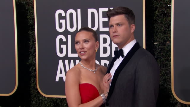actress scarlett johansson and colin jost pose on the red carpet at the 2020 golden globe awards. - golden globe awards stock videos & royalty-free footage