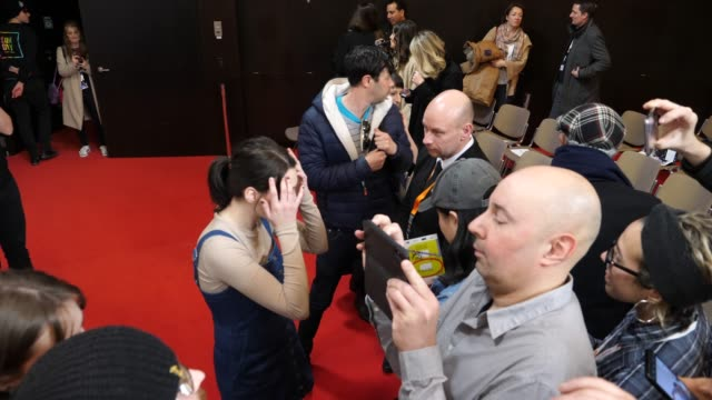 us actress sidney flanigan signs autographs after a press conference for the film never rarely sometimes always at grand hyatt hotel on february 25... - 有名人のサイン点の映像素材/bロール