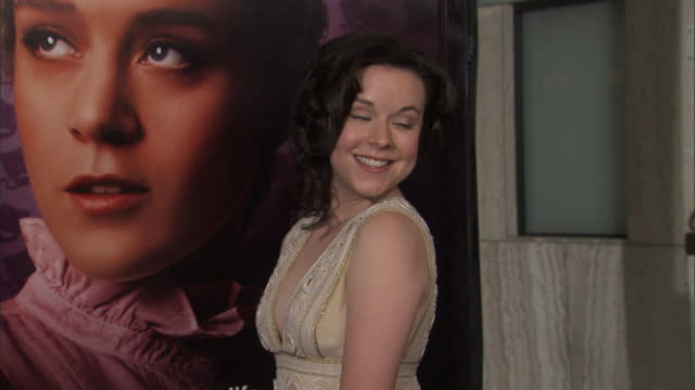 hd actress tina majorino on red carpet outside cinerama dome posing for press photographs td/tu - tina majorino stock videos and b-roll footage