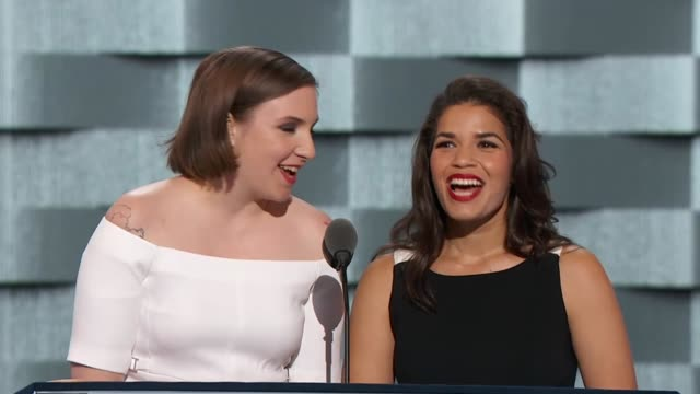 actresses america fererra and lena dunham discuss diversity at the convention, telling delegates that donald trump believes that the differences of... - america ferrera stock videos & royalty-free footage
