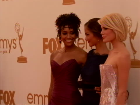 actresses minka kelly rachael taylor annie ilonzeh charlie's angels stars on the red carpet for 2011 emmy awards on september 18 the 63rd annual... - short sleeved stock videos & royalty-free footage