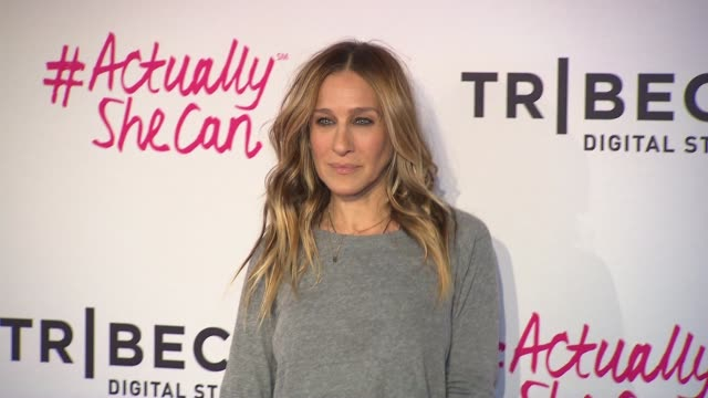 stockvideo's en b-roll-footage met clean #actuallyshecan film series premiere during 2016 tribeca film festival on april 21 2016 in new york city - sarah jessica parker