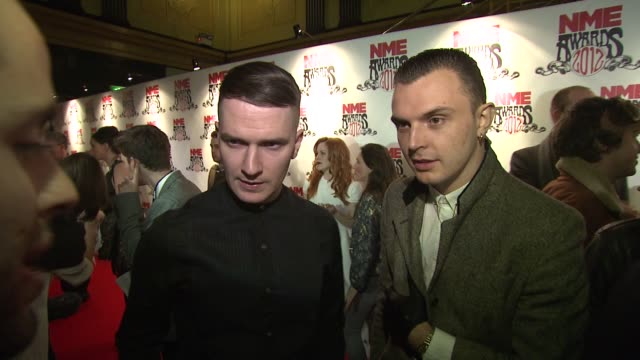 adam anderson, theo hutchcraft on british music, who they like, working on their new album at nme awards 2012 at brixton academy on february 29, 2012... - ランベス点の映像素材/bロール