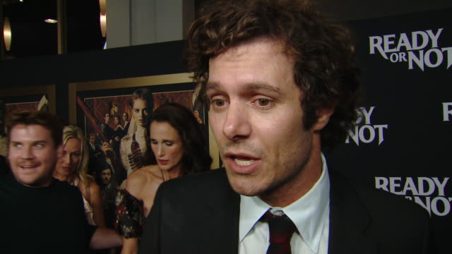 """interview adam brody on the movie and his character at the """"ready or not"""" los angeles special screening presented by fox searchlight pictures in los... - adam brody stock videos & royalty-free footage"""