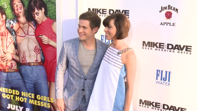 adam devine aubrey plaza at premiere of 20th century fox's mike and dave need wedding dates in los angeles ca - aubrey plaza stock videos and b-roll footage