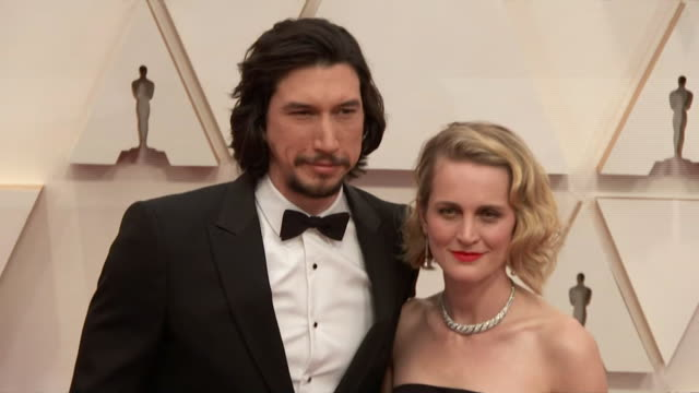 adam driver and his wife joanne tucker walking the red carpet at the 92nd annual academy awards at the dolby theater in los angeles, california. - music or celebrities or fashion or film industry or film premiere or youth culture or novelty item or vacations 個影片檔及 b 捲影像