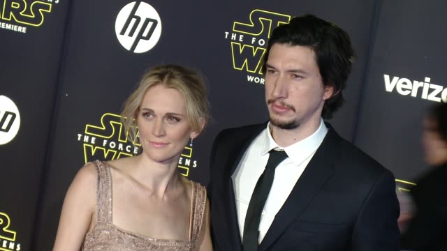 Adam Driver and Joanne Tucker at the 'Star Wars The Force Awakens' World Premiere at TCL Chinese Theatre on December 14 2015 in Hollywood California