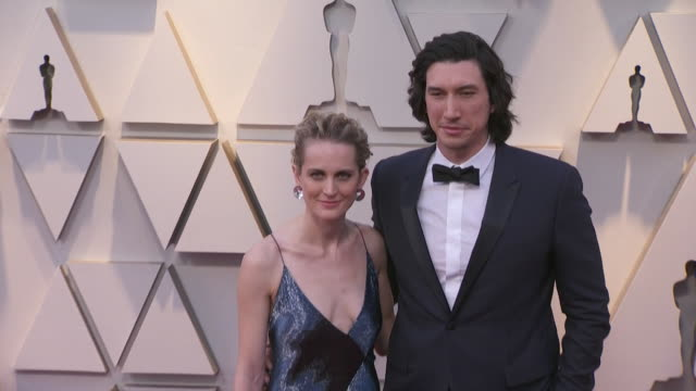 adam driver and joanne tucker walking the red carpet at the 91st annual academy awards at the dolby theater in los angeles, california. - music or celebrities or fashion or film industry or film premiere or youth culture or novelty item or vacations 個影片檔及 b 捲影像