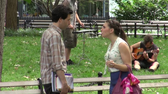 Adam Driver and Zosia Mamet on location for 'Girls' in New York 07/31/12