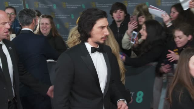adam driver attends the ee british academy film awards 2020 red carpet arrivals at royal albert hall on february 2 2020 in london england - red carpet event stock videos & royalty-free footage