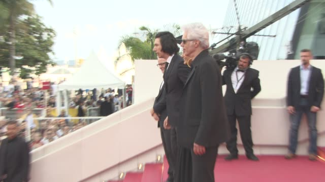 Adam Driver Golshifteh Farahani Jim Jarmusch at 'Paterson' Red Carpet at Grand Theatre Lumiere on May 16 2016 in Cannes France
