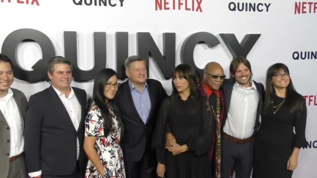 Adam Fell Ted Sarandos Rashida Jones Quincy Jones Al Hicks and Paula DuPre Pesmen at the premiere of 'Quincy' from Netflix at the Linwood Dunn...