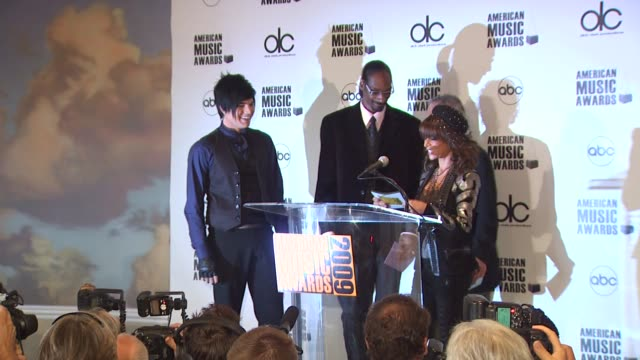 Adam Lambert Paula Abdul and Snoop Dogg at the 2009 American Music Awards Nomination Announcements at Beverly Hills CA