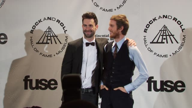 adam levine and jesse carmichael of maroon 5 at the 25th annual rock and roll hall of fame induction ceremony press room at new york ny - hall of fame stock videos and b-roll footage