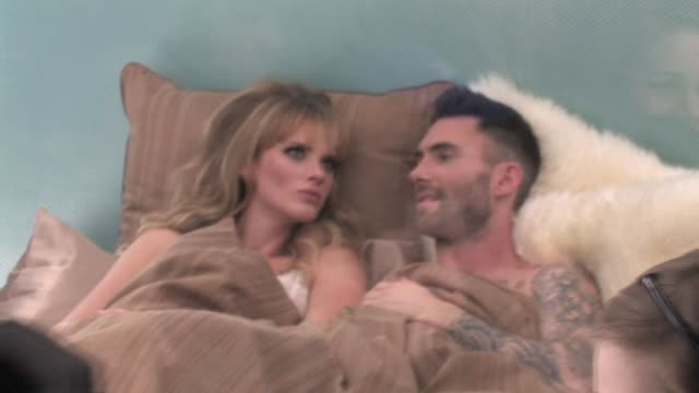 Adam Levine Anne V at Never Gonna Leave This Bed Video Shoot in Hollywood at the Celebrity Sightings in Los Angeles at Los Angeles CA