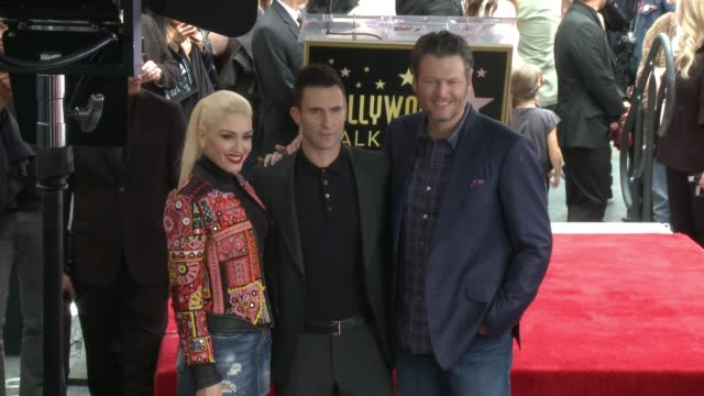 Adam Levine Gwen Stefani and Blake Shelton at Hollywood Walk Of Fame on February 10 2017 in Hollywood California