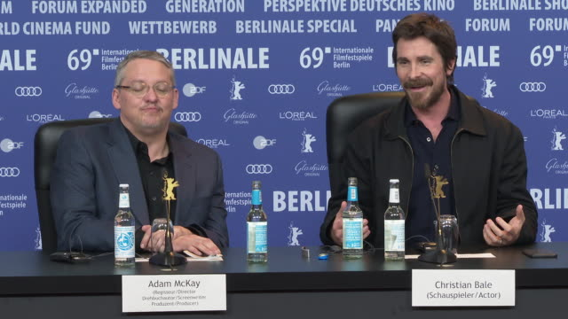 interview adam mckay christian bale joking around about someones belly button at 'vice' press conference 69th berlin film festival on february 11... - belly button stock videos and b-roll footage