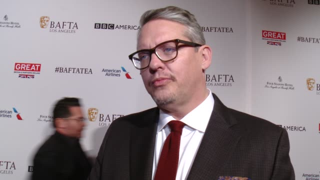 interview adam mckay on being at the event and on his film 'the big short' being nominated at the bafta los angeles awards season tea party at four... - tea party stock videos and b-roll footage