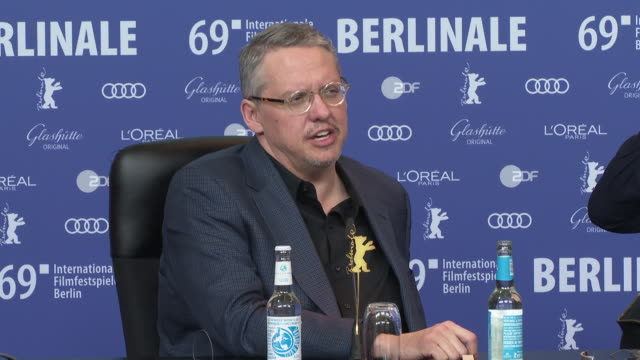 adam mckay on dick cheney being a family man and also being a evil man at the same time at 'vice' press conference - 69th berlin film festival on... - the family man film title stock videos & royalty-free footage