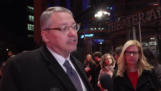 vídeos de stock, filmes e b-roll de adam mckay on using satire in the film, sharing excitement with the film and what audience ruction he hopes for at 'vice' premiere - 69th berlin film... - satire