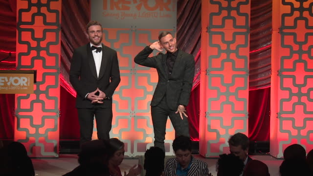 SPEECH Adam Rippon and Gus Kenworthy speak at The Trevor Project TrevorLIVE NY 2018 at Cipriani Wall Street on June 11 2018 in New York City