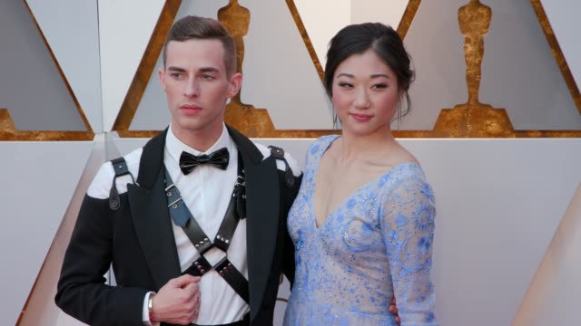 adam rippon and mirai nagasu at the 90th academy awards arrivals at dolby theatre on march 04 2018 in hollywood california - 90th annual academy awards stock videos & royalty-free footage