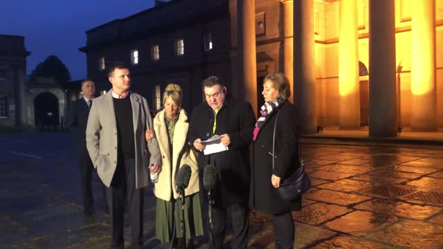 adam rodda, father of alex rodda, speaks outside chester crown court after matthew mason was found guilty of his son's murder. plus quotes from... - プラスキー点の映像素材/bロール
