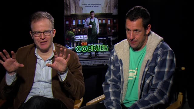 interview adam sandler and tom mccarthy adam talks about the preparation to play a cobbler how he studied with several cobblers to learn their craft... - adam sandler stock videos & royalty-free footage