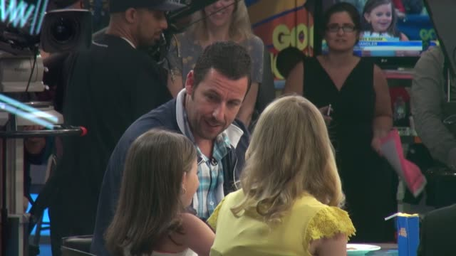 adam sandler answering questions from the gma's anchors minime's on the set of the good morning america show in celebrity sightings in new york - an answer film title stock videos & royalty-free footage