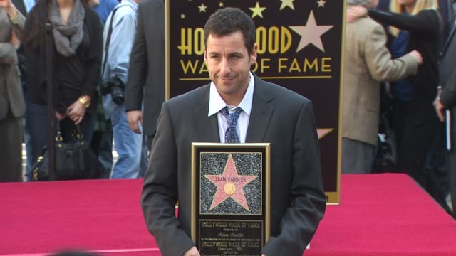 adam sandler at the adam sandler honored with a star on the hollywood walk of fame at hollywood ca - adam sandler stock videos & royalty-free footage