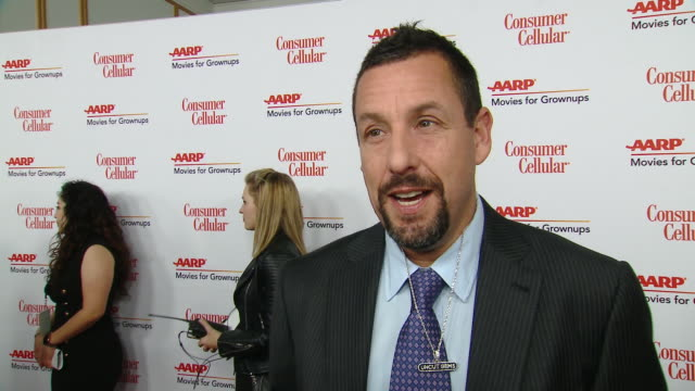 interview adam sandler on how it feels to be honored by aarp movies for grownups what it means to have an organization advocating for the 50... - adam sandler stock videos & royalty-free footage