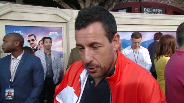 interview adam sandler on how jennifer talked him into doing another film together talks about his family appearing in the movie and what he would... - adam sandler stock videos & royalty-free footage