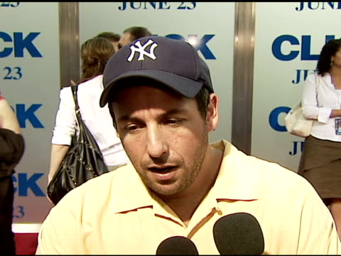 adam sandler on the film his character being a dad having a remote at the columbia pictures' and revolution studios' 'click' los angeles premiere at... - adam sandler stock videos & royalty-free footage