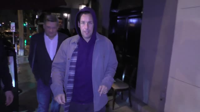 Adam Sandler poses with fans after dinner at Craig's in West Hollywood in Celebrity Sightings in Los Angeles