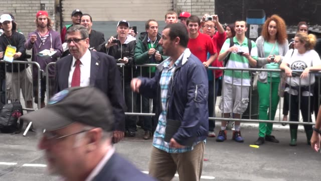 adam sandler walking into the late show with david letterman after signing for fans in celebrity sightings in new york - adam sandler stock videos & royalty-free footage
