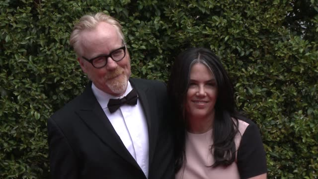 adam savage and julia ward at the 2015 creative arts emmy awards at microsoft theater on september 12 2015 in los angeles california - emmy awards stock-videos und b-roll-filmmaterial