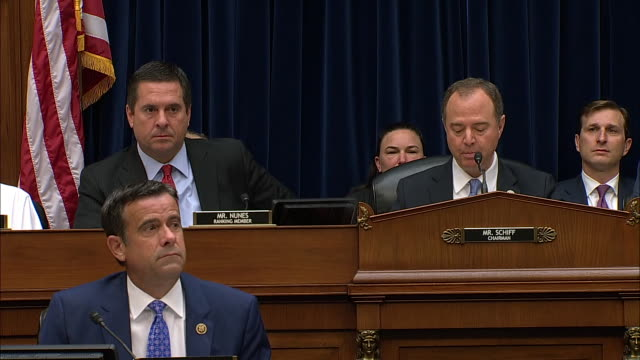 vidéos et rushes de adam schiff retells president donald trump's phone call with ukrainian president volodymyr zelensky during the house intelligence committee hearing... - satire
