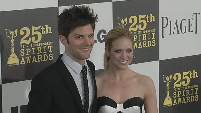 adam scott and brittany snow at the 2010 film independent's spirit awards - arrivals at los angeles ca. - independent feature project stock videos & royalty-free footage