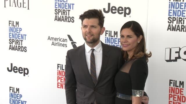Adam Scott and Naomi Scott at the 2017 Film Independent Spirit Awards Arrivals on February 25 2017 in Santa Monica California