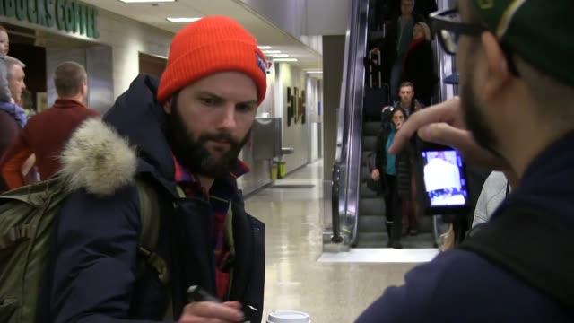 Adam Scott arrives at Salt Lake City Airport for the Sundance Film Festival on January 21 2016