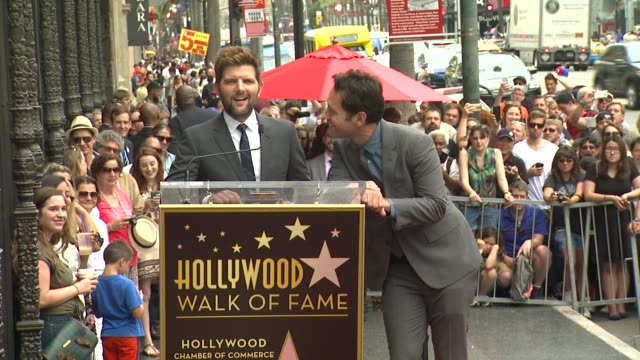 adam scott & paul rudd at paul rudd honored with star on the hollywood walk of fame at hollywood walk of fame on july 01, 2015 in hollywood,... - walk of fame stock videos & royalty-free footage