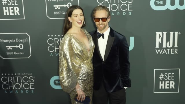 adam shulman and anne hathaway at the 25th annual critics' choice awards at barker hangar on january 12 2020 in santa monica california - gif stock videos and b-roll footage