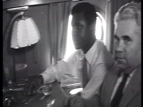 adamafio, chairman of ghana trades union congress, economic negotiations in plane with soviet representatives and john elliott, delegation meeting... - trades union congress stock videos & royalty-free footage